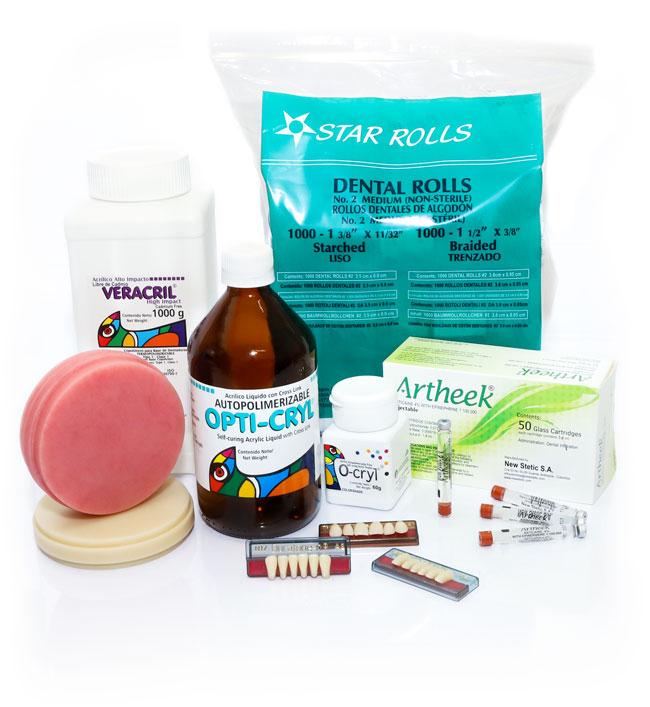 resinas acrilicas, discos pmma, anestesicos, dientes de resina, ortodoncia, algodon dental, amalgamas dentales, odontologia y laboratorio dental